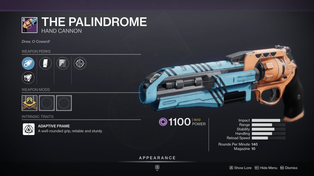The Palindrome 1024x576 - The Palindrome God Roll – Destiny 2