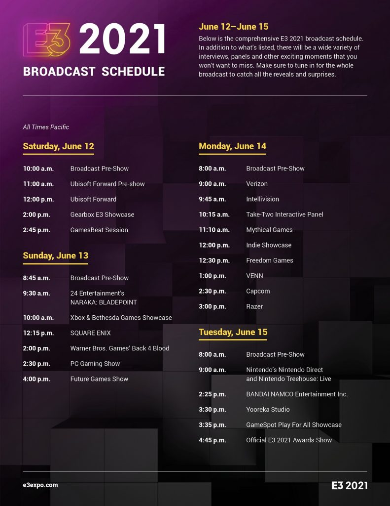 E3 2021 Schedule Infographic 791x1024 - E3 2021 Broadcast Schedule Now Available