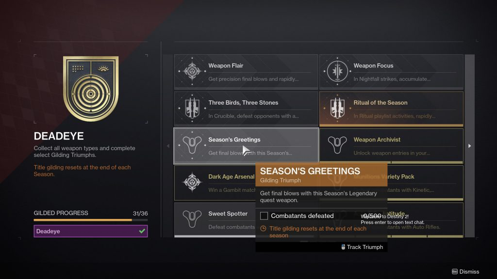 seasons greetings triumph destiny 2 1024x576 - Sweet Spotter Triumph - Destiny 2